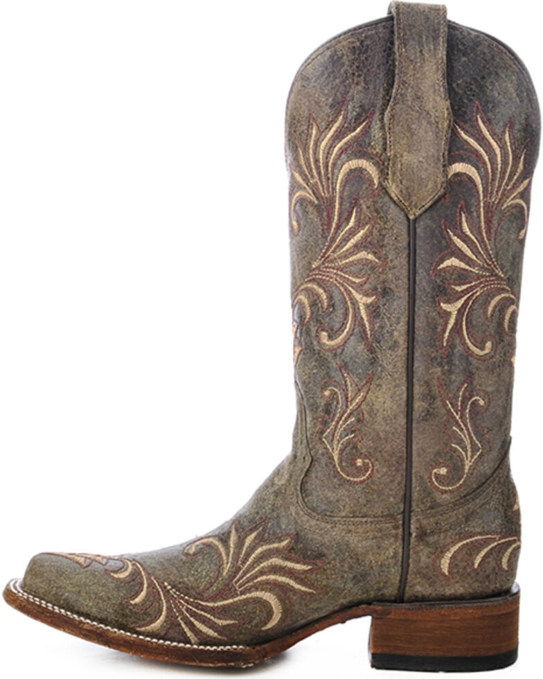 Circle G Women's Distressed Filigree Square Toe Western Boots, Distressed, hi-res