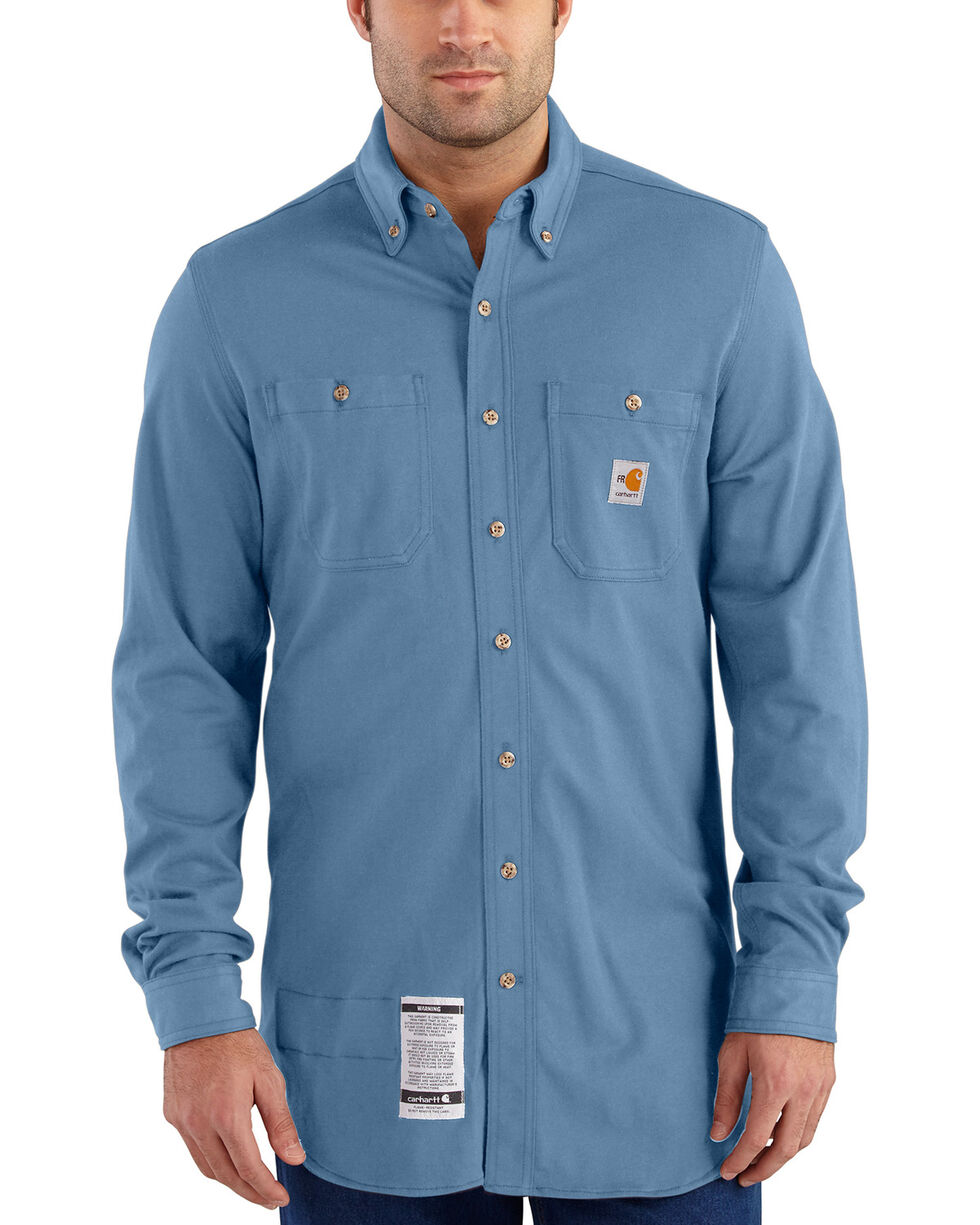 Carhartt Men's Blue Flame-Resistant Force Hybrid Shirt , Medium Blue, hi-res