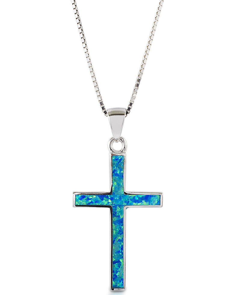 Kelly Herd Women's Blue Opal Cross Pendant Necklace , Silver, hi-res