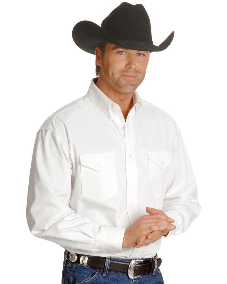 Wrangler Men's Painted Desert Solid Twill Shirt, White, hi-res