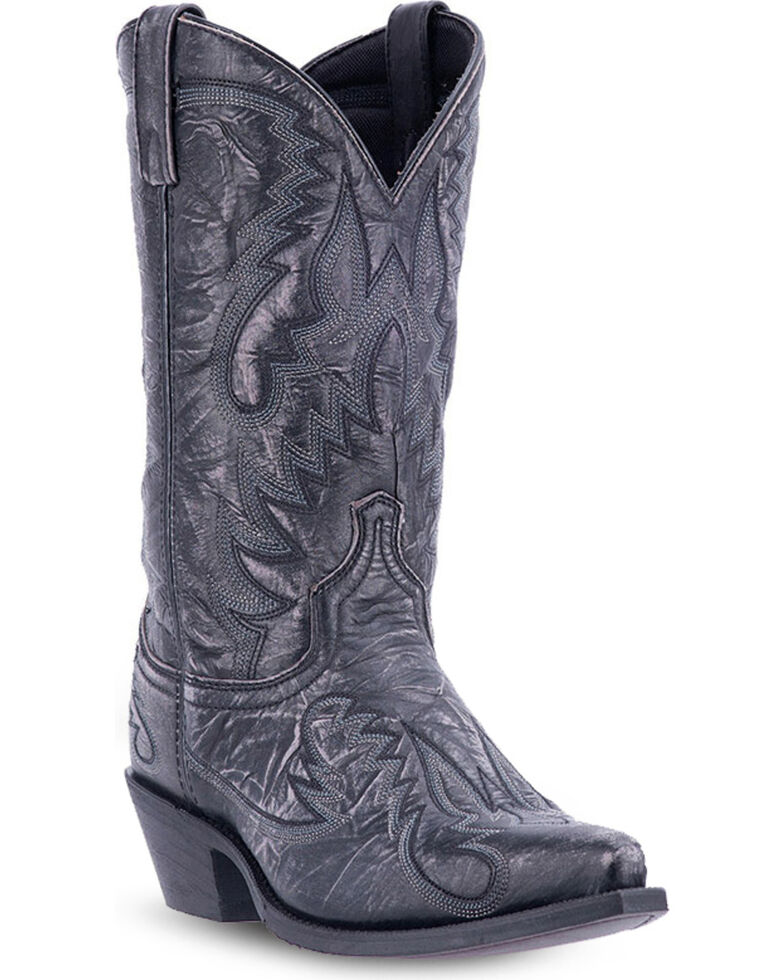 Laredo Men's Garrett Distressed Western Boots, Black, hi-res