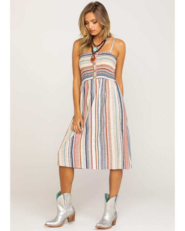 Angie Women's Multi-Stripe Smocked Sundress, Ivory, hi-res