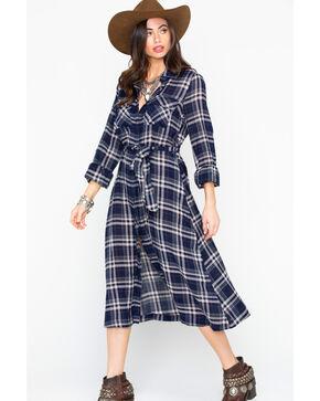 Miss Me Women's Plaid Button Down Long Sleeve Shirt Dress , Navy, hi-res