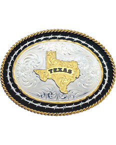 Montana Silversmiths Barbed Wire Texas State Western Belt Buckle, Multi, hi-res