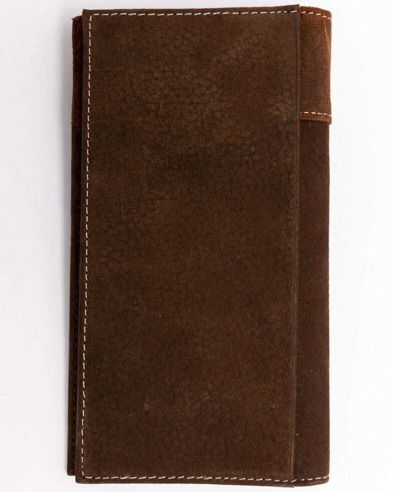 Cody James Men's Boot Stitch Long Horn Leather Checkbook Wallet , Tan, hi-res