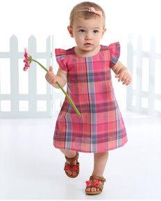 Wrangler Infant Girls' Plaid Ruffle Cap Sleeve Dress, Pink, hi-res