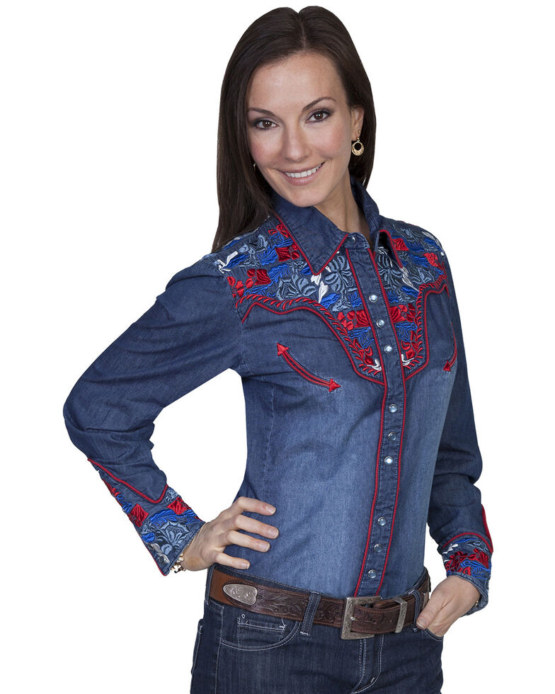 Scully Women's Floral Embroidered Long Sleeve Western Shirt, Denim, hi-res
