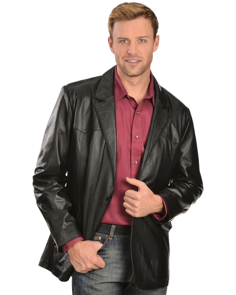 Scully Lamb Leather Blazer - Regular, Black, hi-res