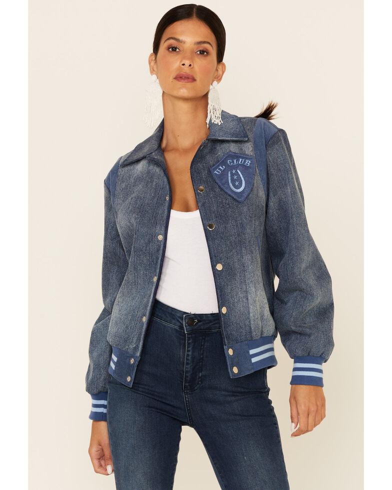 Understated Leather Women's Cowboys Make Better Lovers Snap-Front Denim Bomber Jacket  , Indigo, hi-res