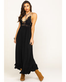 Free People Women's Adella Maxi Slip Dress, Black, hi-res