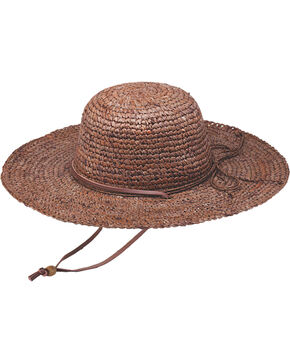 "Peter Grimm Ginko 4 1/4"" Brown Raffia Straw Sun Hat, Brown, hi-res"