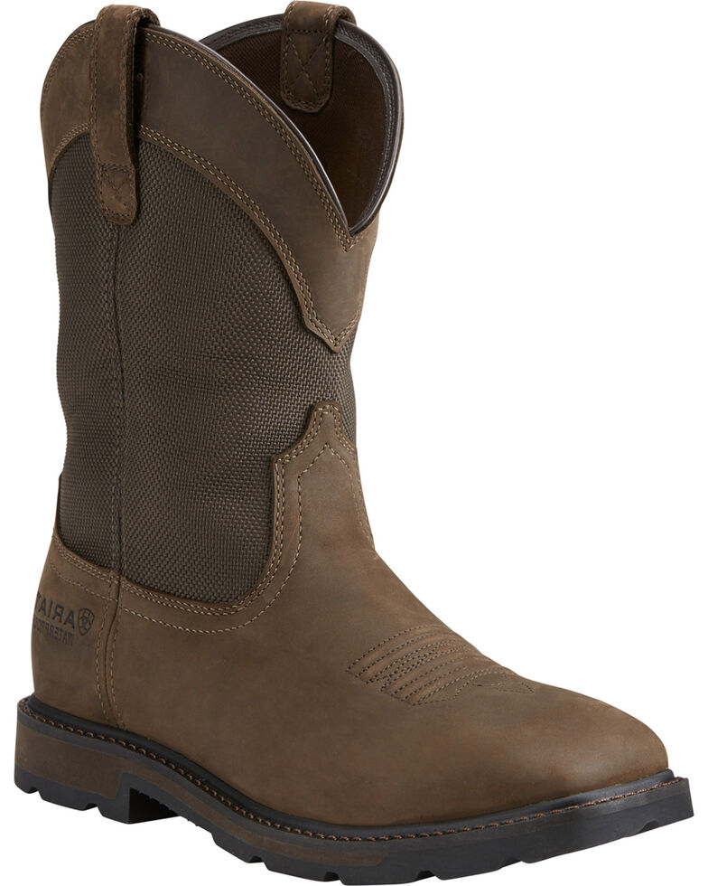 Ariat Men's Groundbreaker H2O Steel Toe Work Boots, Brn Bomber, hi-res