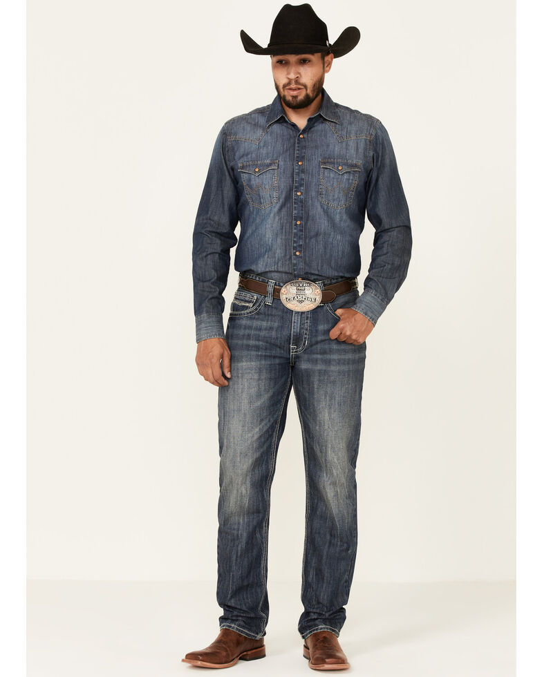 Rock & Roll Denim Men's Double Barrel Stackable Relaxed Bootcut  Jeans , Blue, hi-res