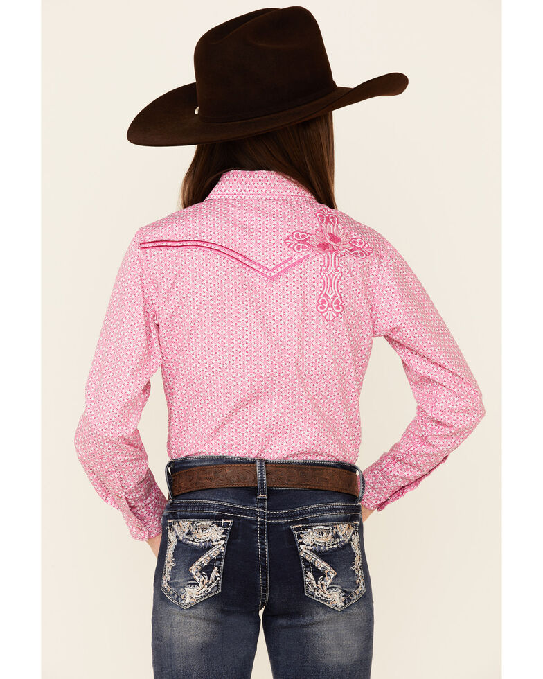 Cowgirl Hardware Girls' Pink Star Print Embroidered Long Sleeve Snap Western Shirt , Pink, hi-res