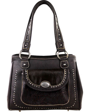 Montana West Trinity Ranch Concealed Handgun Collection Handbag with front Pocket, Dark Brown, hi-res