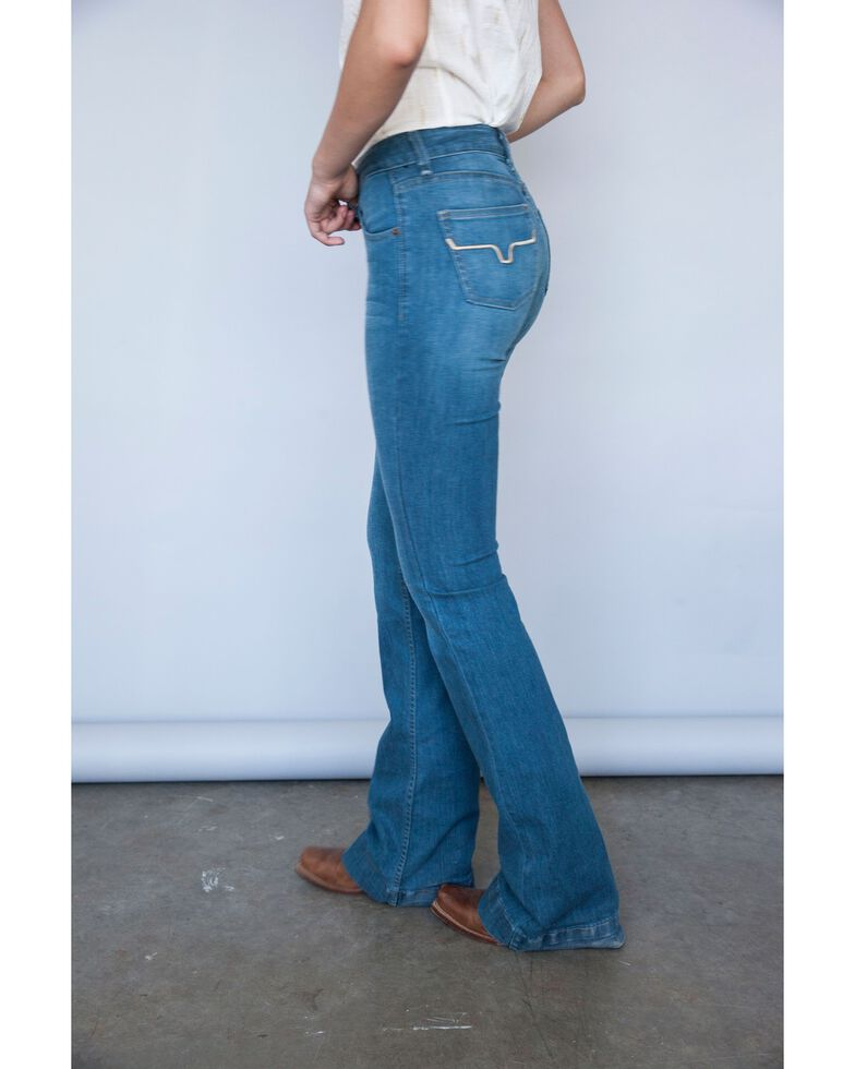 Kimes Ranch Women's Light Wash Mid Rise Lola Soho Fade Trouser, Blue, hi-res