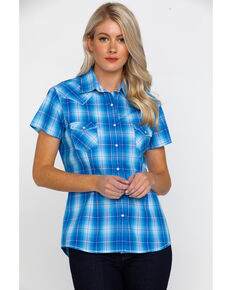 3687a413 Rough Stock by Panhandle Women's Lindsey Ombre Plaid Short Sleeve Western  Shirt