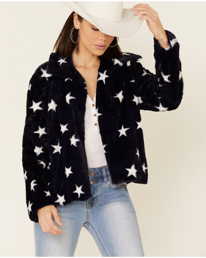 Hem & Thread Women's Navy Star Print Faux Fur Jacket , Navy, hi-res