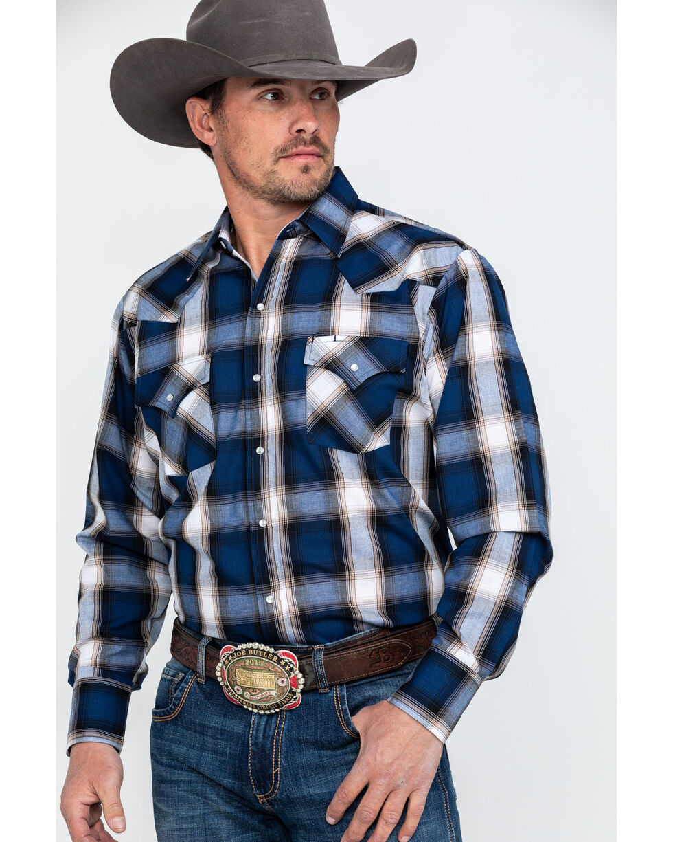 Ely Cattleman Assorted Men's Textured Plaid Long Sleeve Western Shirt , Multi, hi-res