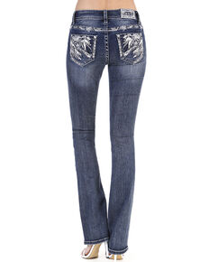 Grace in LA Women's Medium Feather Straight Jeans - Plus, Blue, hi-res