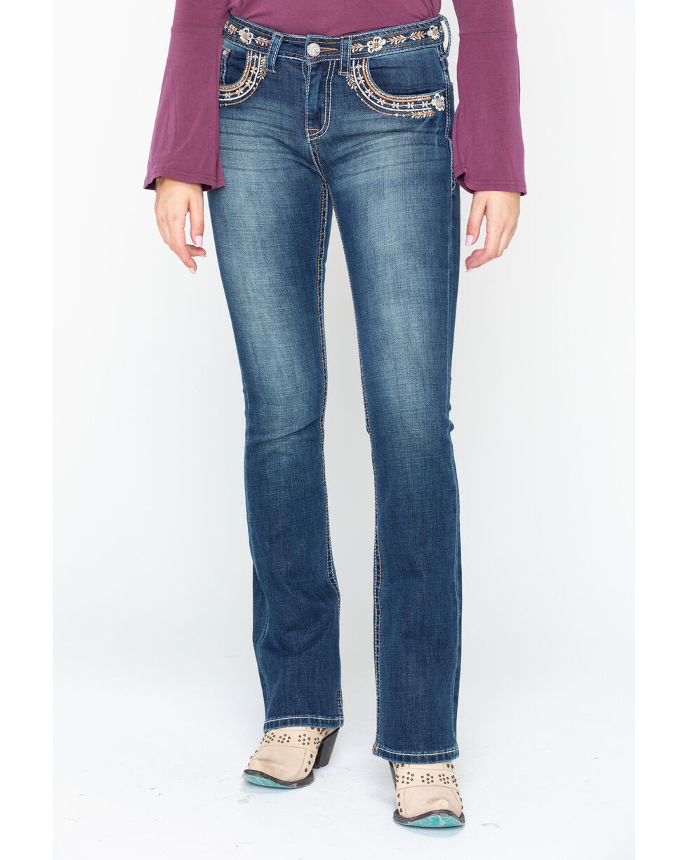 Grace In LA Women's Grace Heavy Embroidered Pocket Jeans , Indigo, hi-res