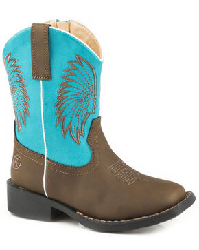 Roper Toddler Boys' Big Chief Cowboy Boots - Square Toe, Brown, hi-res