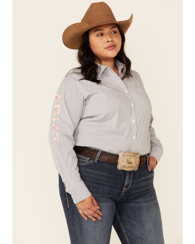 Ariat Women's Peacoat Striped Team Kirby Long Sleeve Button-Down Western Core Shirt - Plus, Multi, hi-res