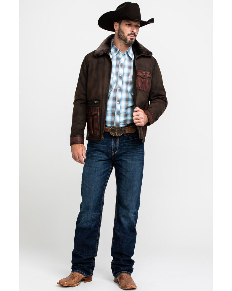 Scully Leatherwear Men's Canvas Leather Trim Jacket , Brown, hi-res