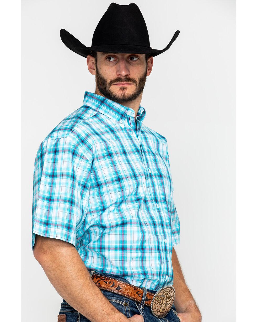 Ariat Men's Falker Plaid Short Sleeve Western Shirt , White, hi-res