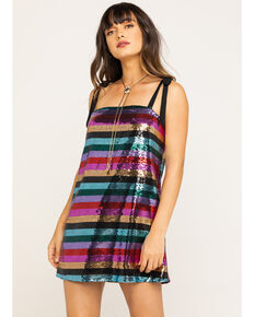 Show Me Your Mumu Women's Super Slip Tie Party Stripe Sequin Dress, Multi, hi-res