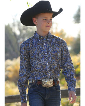 Cinch Boys' Match Dad Paisley Long Sleeve Button Down Shirt, Multi, hi-res