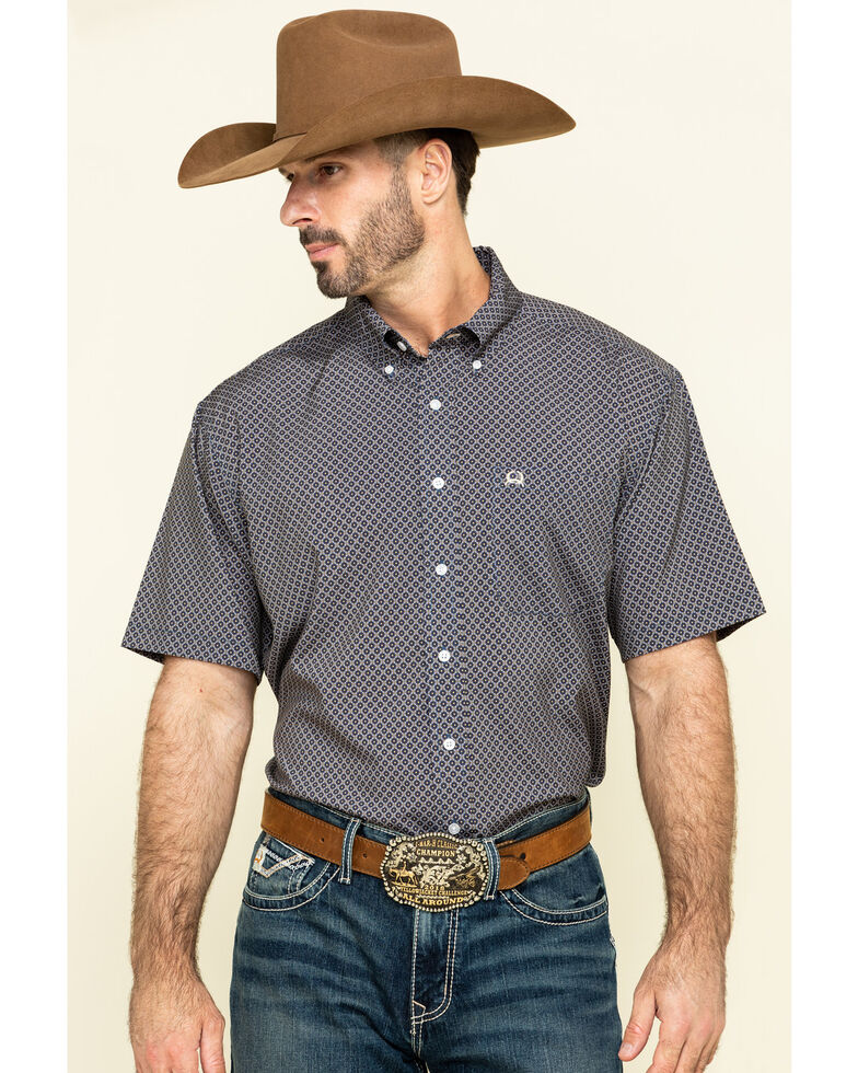 Cinch Men's Arena Flex Navy Geo Print Button Short Sleeve Western Shirt , Navy, hi-res