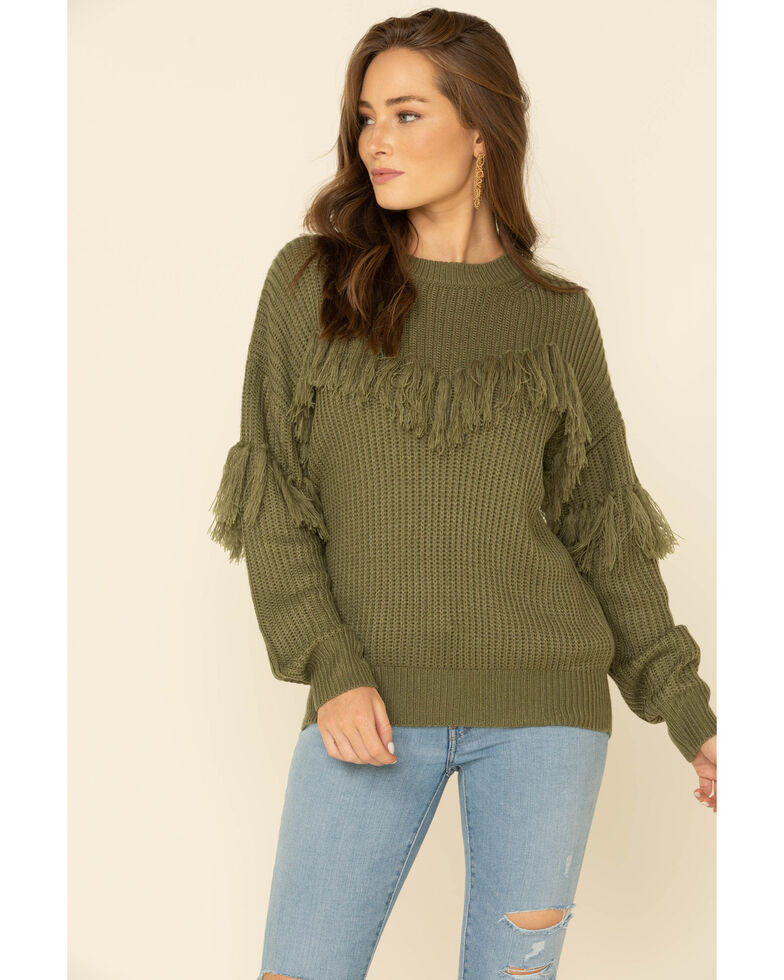 Flying Tomato Women's Fringe Tassel Front Sweater , Olive, hi-res