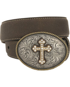 Nocona Girls' Oval Cross Buckle Belt, Brown, hi-res