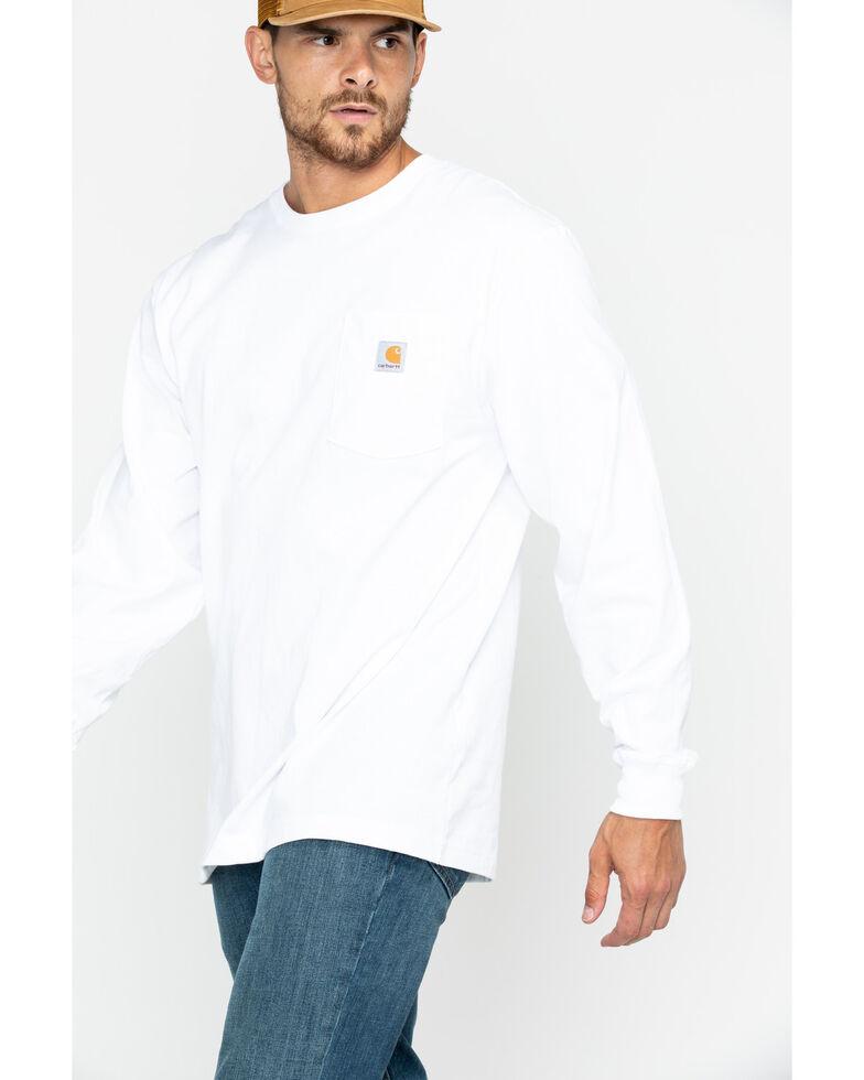 Carhartt Men's Workwear Long-Sleeve Pocket T-Shirt - Big, White, hi-res