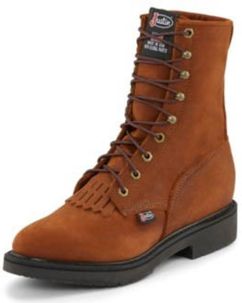 Justin Men's Lace Up Work Boots, Bark, hi-res