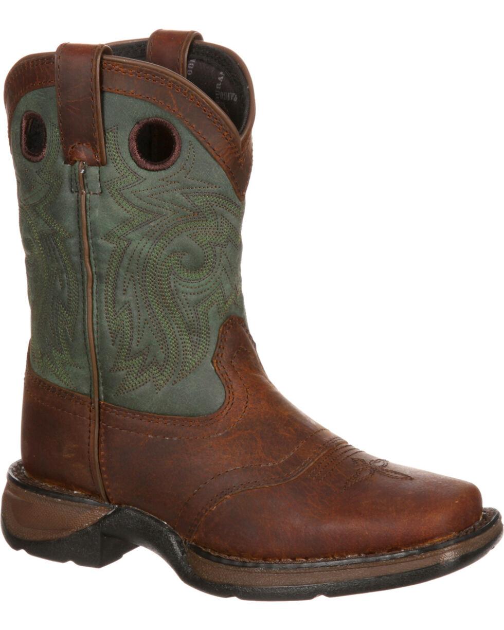 Lil' Durango Youth Saddle Western Boots, Dark Brown, hi-res