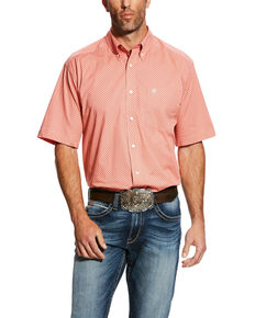 Ariat Men's Harsley Stretch Geo Print Short Sleeve Western Shirt - Big & Tall , Orange, hi-res