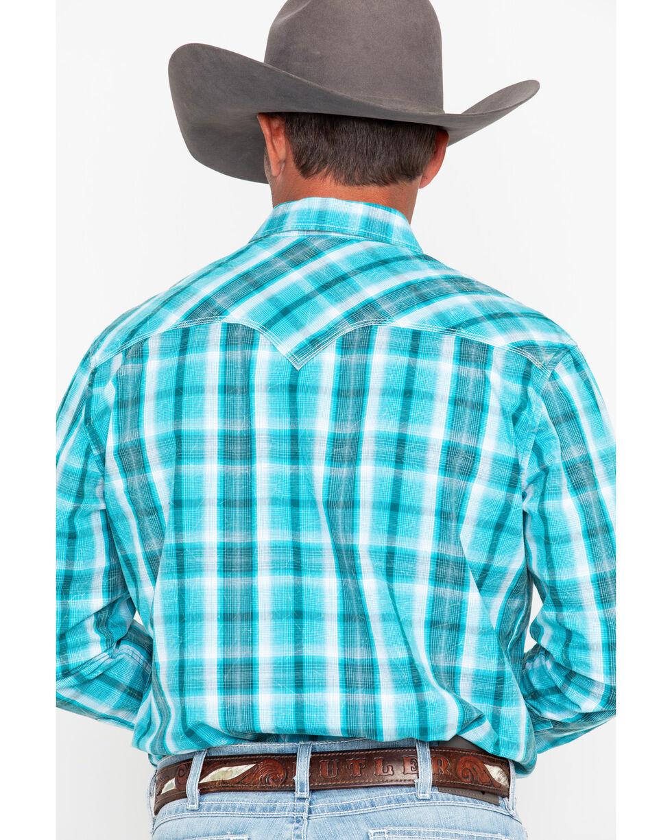 Rock & Roll Cowboy Men's Poplin Plaid Snap Long Sleeve Western Shirt , Blue, hi-res