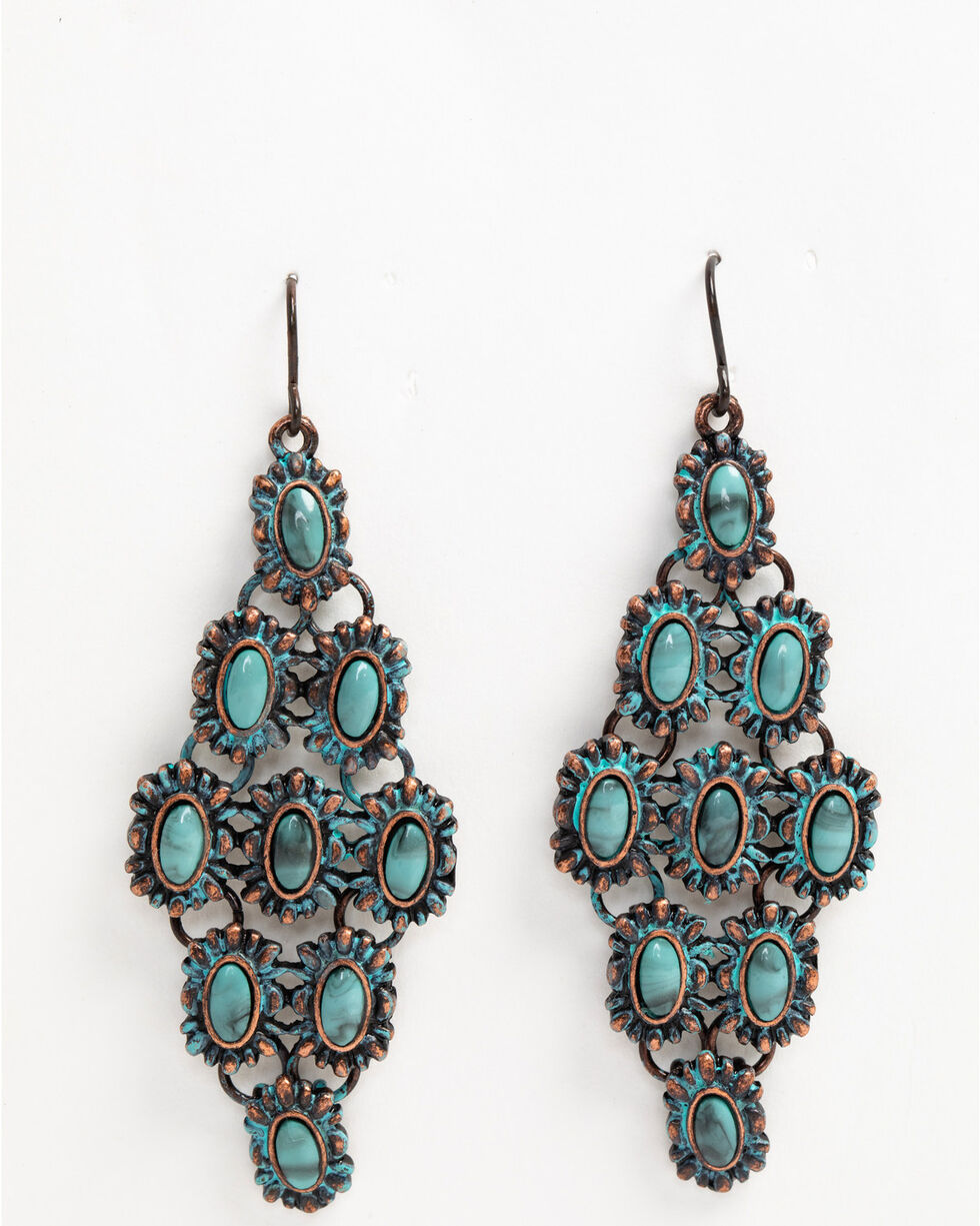 Shyanne Women's Patina Crescent Turquoise Dia Chandelier Earrings, Turquoise, hi-res