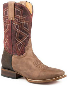 Roper Men's Sidewinder Sam Western Boots - Square Toe, Brown, hi-res