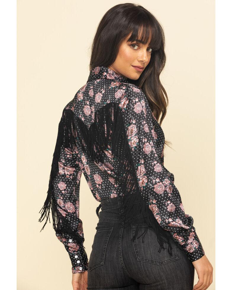 Rock & Roll Cowgirl Women's Floral Dot Fringe Long Sleeve Western Shirt , Black, hi-res