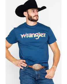 Wrangler Men's Aztec Logo T-Shirt, Blue, hi-res