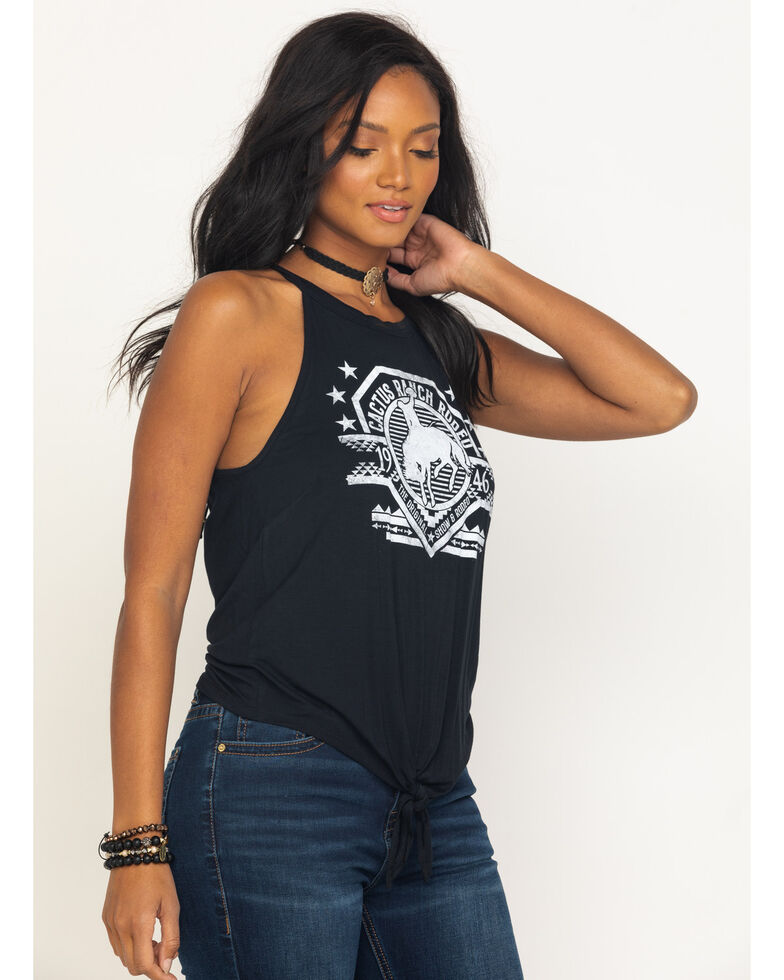 Rock & Roll Cowgirl Women' s Cactus Ranch Rodeo Graphic Tank Top, Black, hi-res