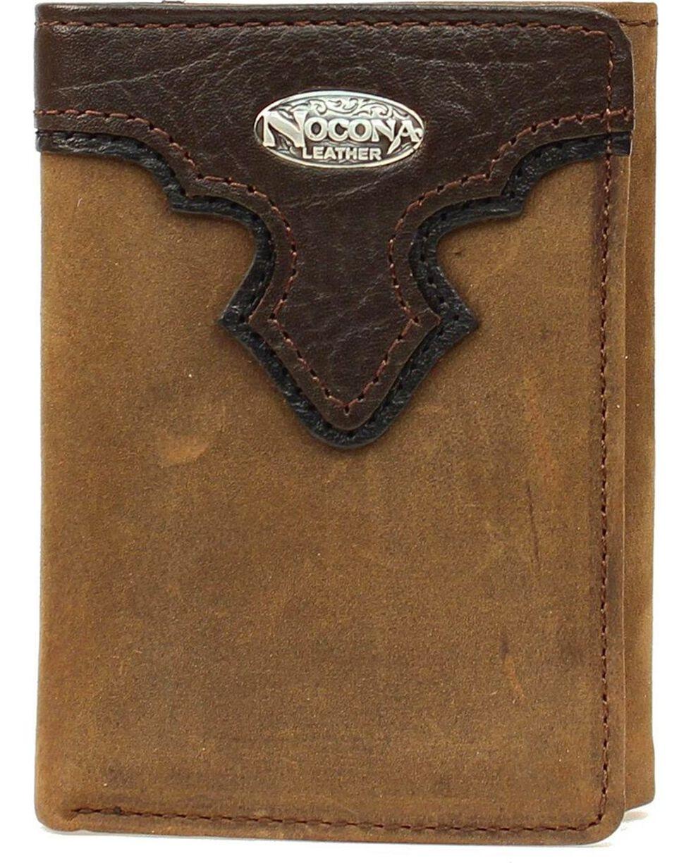 Nocona Men's Tri-fold Leather Wallet, Brown, hi-res