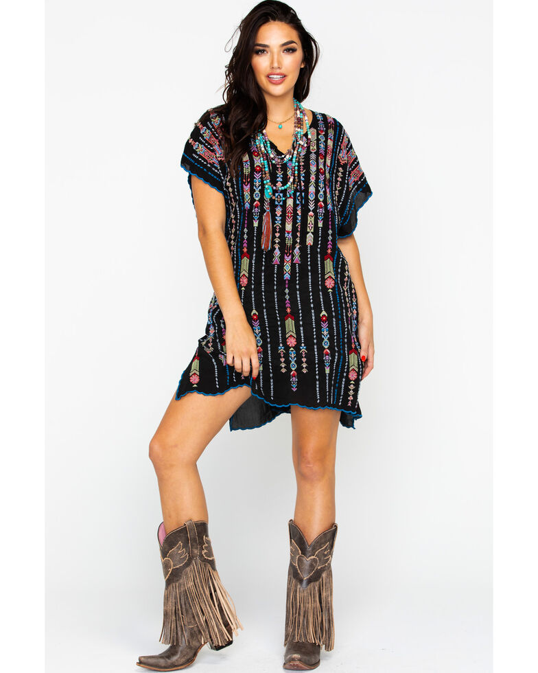 Johnny Was Women's Aztec Embroidered Trim Poncho, Black, hi-res