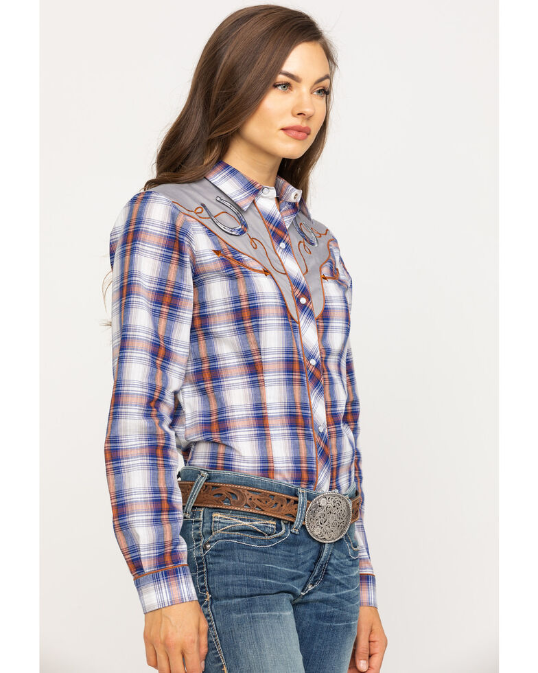 Karman Women's Plaid Horseshoe Long Sleeve Western Shirt, Blue, hi-res
