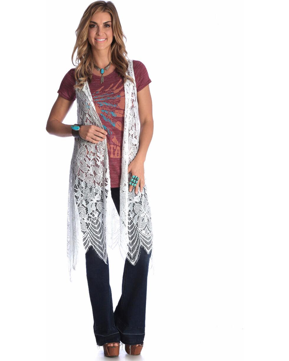 Wrangler Women's Cream Sleeveless Crochet Duster , Cream, hi-res