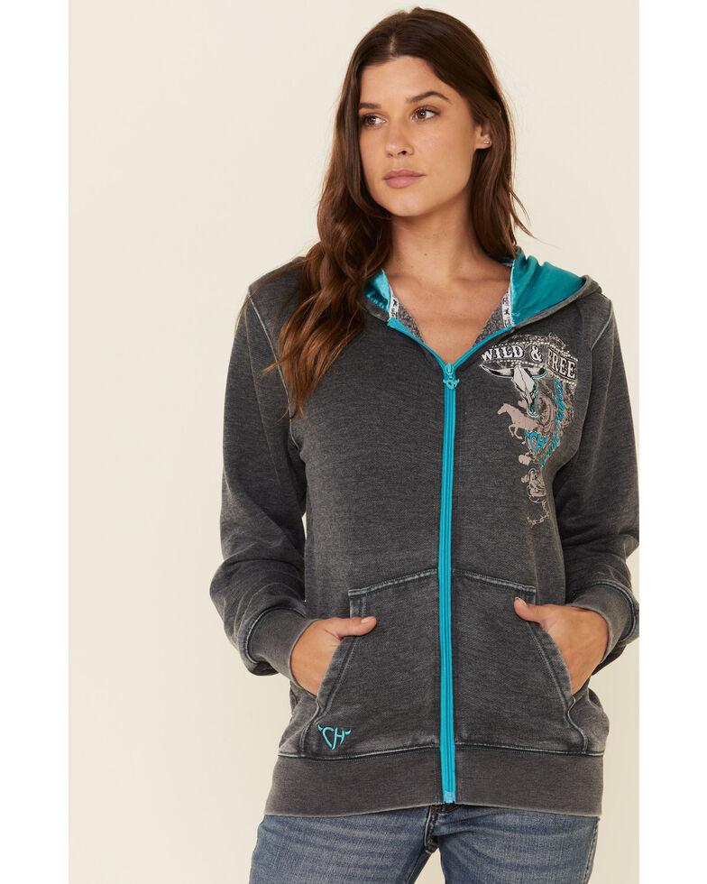 Cowboy Hardware Women's Grey Wild & Free Zip Hooded Sweatshirt , Grey, hi-res