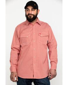 Ariat Men's FR Olmeca Geo Print Snap Long Sleeve Work Shirt - Big , Bark, hi-res